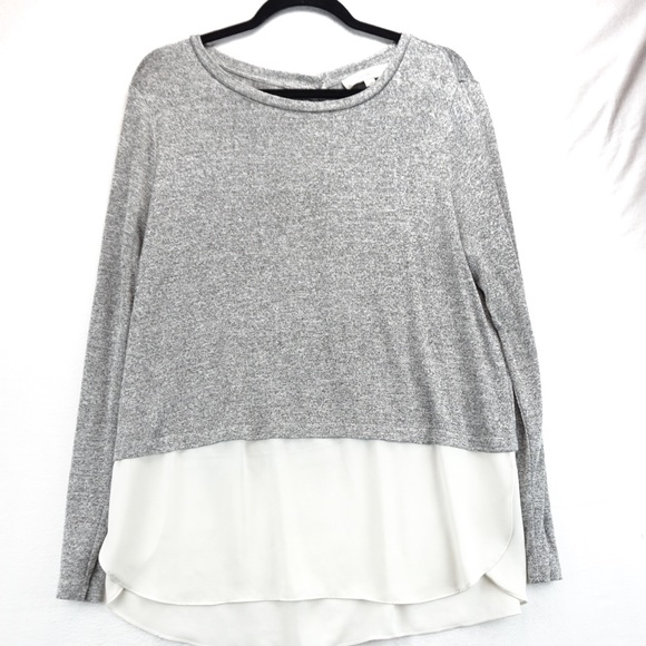 LOFT Tops - Loft grey and white sweater with layered blouse
